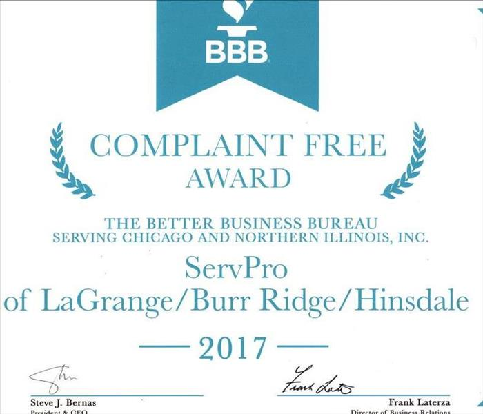 General SERVPRO receives BBB 2017 Complaint Free Award